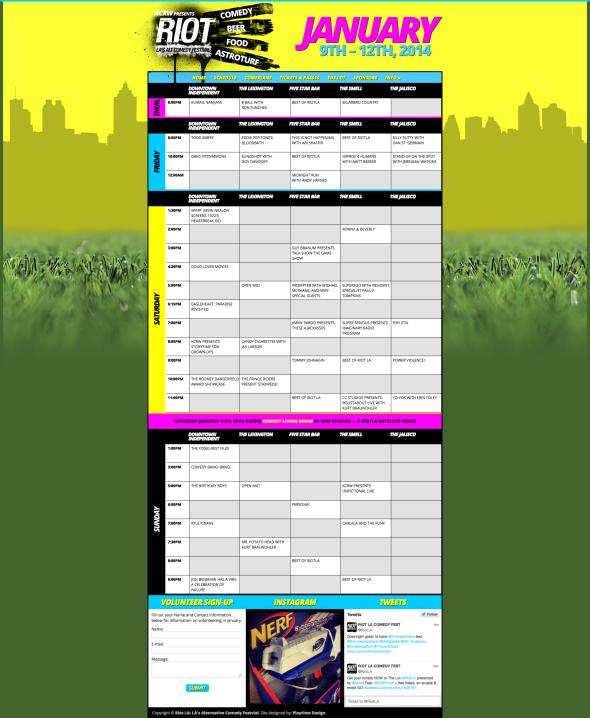 RIOT LA COMEDY FESTIVAL JANUARY 9 -12, 2014